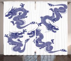 Japon Ejderhaları Fon Perde Uzak Doğu Sanatı