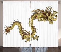 Altın Ejderhalı Fon Perde Mitolojik Simge