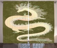 Mitolojik Çin Ejderhası Fon Perde Çin Kültürü Yeşil
