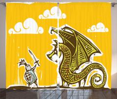 Şövalye ve Ejderha Desenli Fon Perde Şövalye Ejderhaya Karşı