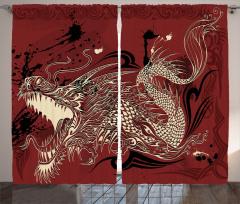 Kükreyen Ejderha Desenli Fon Perde Japon Mitolojisi