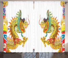 İkili Çin Ejderhaları Desenli Fon Perde Uzak Doğu Efsanesi