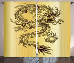 Altın Ejderha ve Güç Topu Fon Perde Ejderha Fantastik Mitolojik