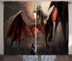 Şövalye Ejderhaya Karşı Temalı Fon Perde Fantastik