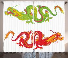 Japon Dekor Fon Perde Ejderha Temalı Kırmızı Yeşil
