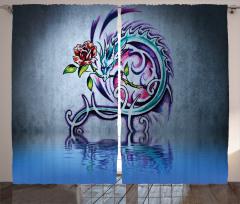 Ejderha Desenli Fon Perde Gül Modern Sanat Gri