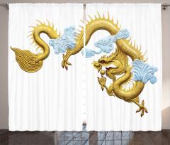 Japon Dekor Fon Perde Alttın Sarısı Ejderha
