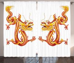 Japon Dekor Fon Perde Ejderha Mitolojik Kırmızı