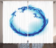 Mavi Ejderha Figürü Fon Perde Modern Sanat Tasarım