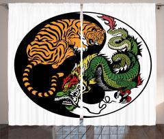 Uzak Doğu Temalı Fon Perde Yin Yang Kaplan Ejderha
