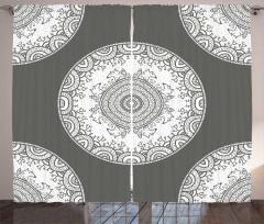 Gri Fon Perde Modern Dizayn Beyaz Süslemeler