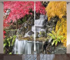 Şelale Desenli Fon Perde Renkli Bahar Yaprakları