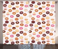 Donut Desenli Fon Perde Donut ve Minik Kalp Desenli