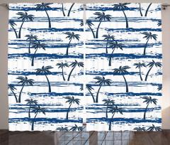 Palmiye Ağaçları Desenli Fon Perde Palmiye Ağaçları
