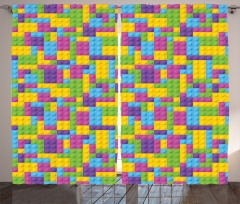 Lego Desenli Fon Perde Rengarenk Legolar Oyun