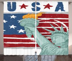 Özgürlük Heykeli Temalı Fon Perde Amerikan Anıtı