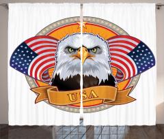 ABD Bayrakları Temalı Fon Perde Kartal Simgesi
