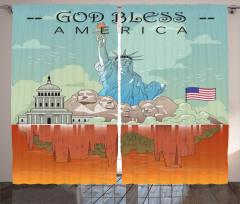 Amerika Temalı Fon Perde Özgürlük Heykeli USA