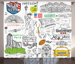 Amerika Temalı Fon Perde New York Özgürlük Heykeli