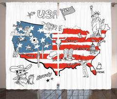 Amerika Temalı Fon Perde USA Las Vegas Chicago