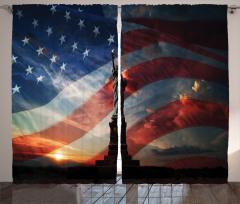 Özgürlük Heykeli Temalı Fon Perde Amerikan Bayrağı