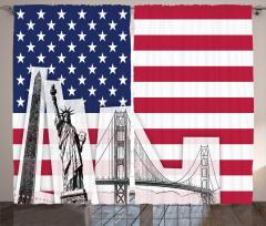 Amerika Temalı Fon Perde Özgürlük Heykeli Eskizi