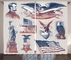 Amerika Temalı Fon Perde Karakalem Tarzı Gri