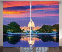 Beyaz Saray Baskılı Fon Perde Amerikan Gün Batımı