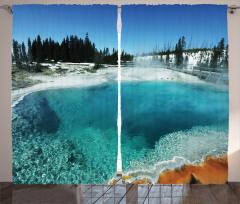 Doğada Kış Zamanı Fon Perde Gölet Orman