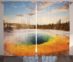 Volkanik Gölet Fon Perde Büyüleyici Doğa