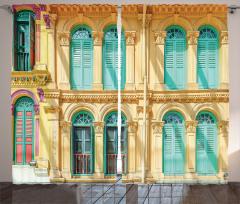 Nostaljik Fon Perde Eski Moda Kapı Pencere Temalı