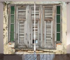 Nostaljik Fon Perde Eski Moda Pencere Kahverengi
