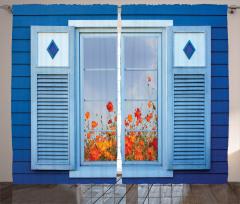 Bahara Açılan Pencere Temalı Fon Perde Turuncu