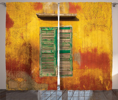 Nostaljik Fon Perde Bohem Eski Moda Sarı Pencere