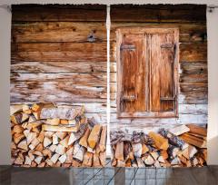 Köy Hayatı Temalı Fon Perde Çiftlik Evi Kış Mevsim