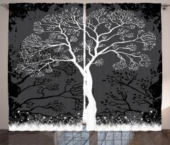 Sanatsal Ağaç Desenli Fon Perde Ağaç İlkbahar Modern Sanatsal Siyah