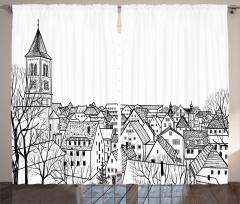 Çatı Katı Fon Perde Avrupa Şehri Deseni