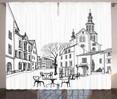 Eski Şehir Manzarası Fon Perde Sonbahar