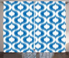 Modern Şık Desenli Fon Perde Mavi Beyaz Modern Desenler Şık Tasarım
