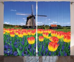 Lale Bahçesi Desenli Fon Perde Hollanda Değirmeni
