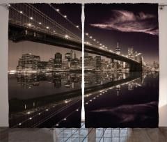 Büyüleyici New York Silüeti Fon Perde Amerika