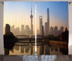 Şangay'da Gün Doğumu Fon Perde Puslu Hava Gri
