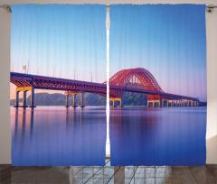 Kırmızı Köprü Fon Perde Nehir Doğa Mavi