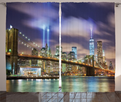Işıklı New York Fon Perde Şehir Işıkları Köprü
