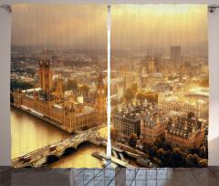 Londra'ya Havadan Bakış Fon Perde Gün Doğumu Sarı