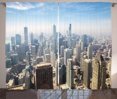 Chicago'ya Havadan Bakış Fon Perde Metropolis Gri