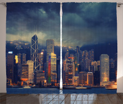 Fırtınalı Hava Fon Perde Hong Kong Lacivert