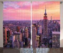 New York Manzarası Fon Perde Ufuk Çizgisi Turuncu