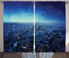 Gün Batımında Paris Silüeti Fon Perde Eyfel Kulesi
