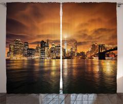 Gün Batımında New York Fon Perde Turuncu